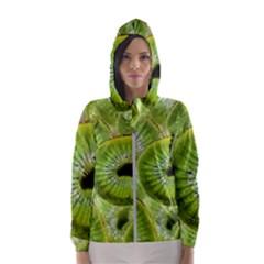 Sliced Kiwi Fruits Green Women s Hooded Windbreaker by Pakrebo