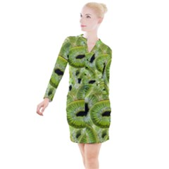 Sliced Kiwi Fruits Green Button Long Sleeve Dress