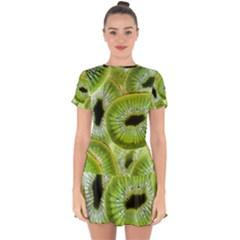 Sliced Kiwi Fruits Green Drop Hem Mini Chiffon Dress by Pakrebo