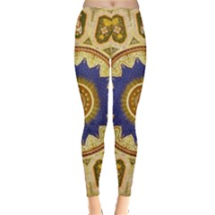 Red And White Angels Printed On Green Red And Purple Round Rug Leggings