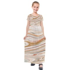 Brown And Yellow Abstract Painting Kids  Short Sleeve Maxi Dress by Pakrebo