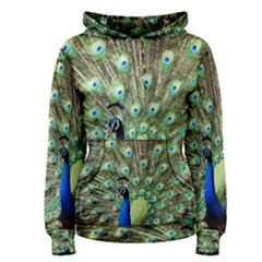 Blue And Green Peacock Women s Pullover Hoodie