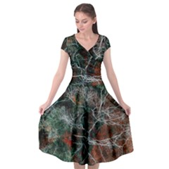 Aerial Photography Of Green Leafed Tree Cap Sleeve Wrap Front Dress