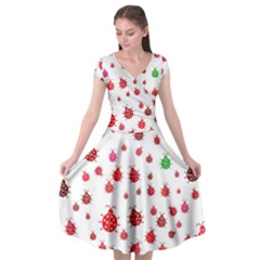 Beetle Animals Red Green Flying Cap Sleeve Wrap Front Dress by Alisyart