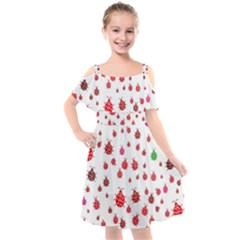 Beetle Animals Red Green Flying Kids  Cut Out Shoulders Chiffon Dress by Alisyart