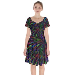 Explosion Fireworks Rainbow Short Sleeve Bardot Dress by Bajindul