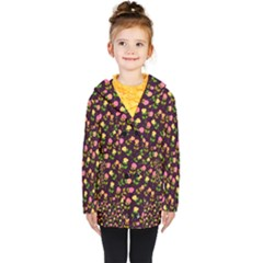 Flowers Roses Brown Kids  Double Breasted Button Coat by Bajindul