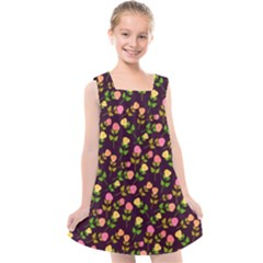 Flowers Roses Brown Kids  Cross Back Dress by Bajindul