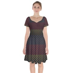 Germany Flag Hexagon Short Sleeve Bardot Dress