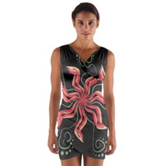 Flower Abstract Wrap Front Bodycon Dress by HermanTelo