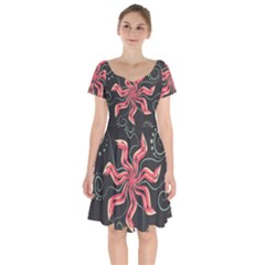 Flower Abstract Short Sleeve Bardot Dress