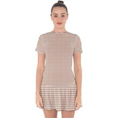 Gingham Check Plaid Fabric Pattern Grey Drop Hem Mini Chiffon Dress