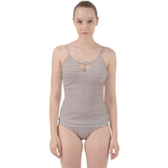 Gingham Check Plaid Fabric Pattern Grey Cut Out Top Tankini Set by HermanTelo
