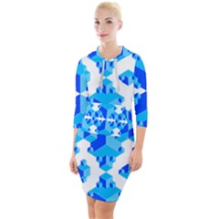 Cubes Abstract Wallpapers Quarter Sleeve Hood Bodycon Dress