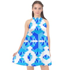 Cubes Abstract Wallpapers Halter Neckline Chiffon Dress  by HermanTelo