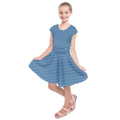 Gingham Plaid Fabric Pattern Blue Kids  Short Sleeve Dress by HermanTelo