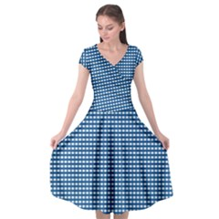 Gingham Plaid Fabric Pattern Blue Cap Sleeve Wrap Front Dress by HermanTelo