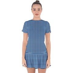 Gingham Plaid Fabric Pattern Blue Drop Hem Mini Chiffon Dress by HermanTelo