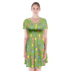 Balloon Grass Party Green Purple Short Sleeve V Neck Flare Dress by HermanTelo