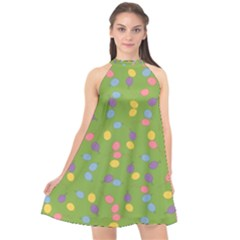 Balloon Grass Party Green Purple Halter Neckline Chiffon Dress