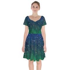Background Blue Green Stars Night Short Sleeve Bardot Dress