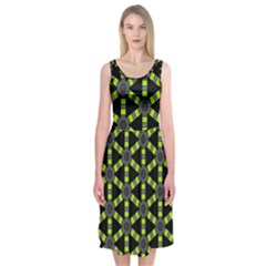 Backgrounds Green Grey Lines Midi Sleeveless Dress