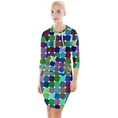 Geometric Background Colorful Quarter Sleeve Hood Bodycon Dress