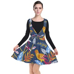 Colorful Birds In Nature Plunge Pinafore Dress by Wmcs91