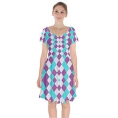 Texture Violet Short Sleeve Bardot Dress