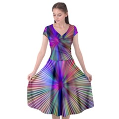 Rays Colorful Laser Cap Sleeve Wrap Front Dress