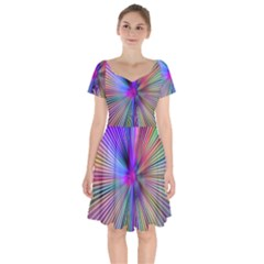 Rays Colorful Laser Short Sleeve Bardot Dress