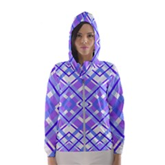 Geometric Plaid Purple Blue Women s Hooded Windbreaker by Mariart