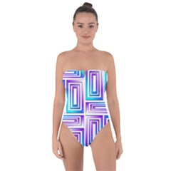 Geometric Metallic Aqua Purple Tie Back One Piece Swimsuit by HermanTelo