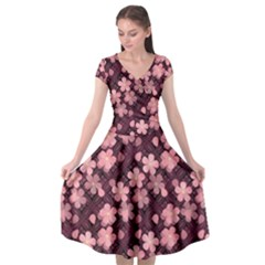 Cherry Blossoms Japanese Cap Sleeve Wrap Front Dress