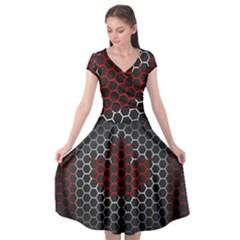 Canada Flag Hexagon Cap Sleeve Wrap Front Dress