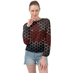 Canada Flag Hexagon Banded Bottom Chiffon Top by HermanTelo