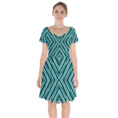 Fabric Sage Grey Short Sleeve Bardot Dress by HermanTelo