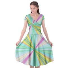 Background Burst Abstract Color Cap Sleeve Wrap Front Dress