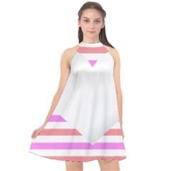 Love Heart Valentine S Day Halter Neckline Chiffon Dress