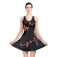 Music Wallpaper Heartbeat Melody Reversible Skater Dress