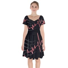 Music Wallpaper Heartbeat Melody Short Sleeve Bardot Dress by HermanTelo