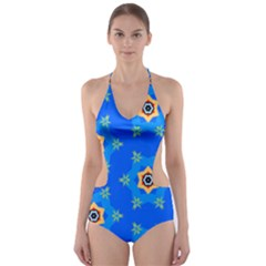 Pattern Backgrounds Blue Star Cut Out One Piece Swimsuit