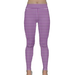 Gingham Plaid Fabric Pattern Purple Classic Yoga Leggings