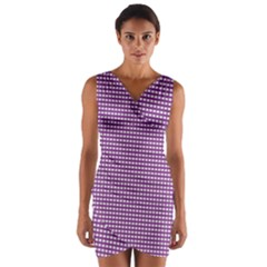 Gingham Plaid Fabric Pattern Purple Wrap Front Bodycon Dress by HermanTelo