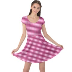 Gingham Plaid Fabric Pattern Pink Cap Sleeve Dress