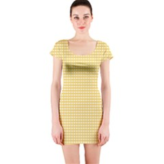 Gingham Plaid Fabric Pattern Yellow Short Sleeve Bodycon Dress by HermanTelo