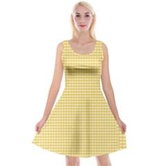 Gingham Plaid Fabric Pattern Yellow Reversible Velvet Sleeveless Dress by HermanTelo