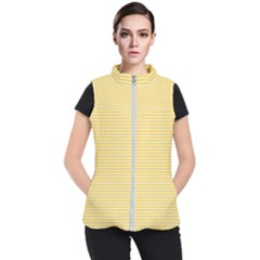 Gingham Plaid Fabric Pattern Yellow Women s Puffer Vest by HermanTelo