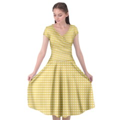 Gingham Plaid Fabric Pattern Yellow Cap Sleeve Wrap Front Dress by HermanTelo