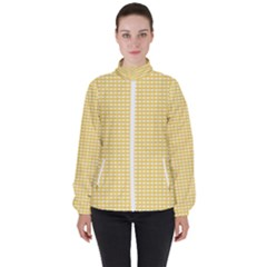 Gingham Plaid Fabric Pattern Yellow Women s High Neck Windbreaker by HermanTelo
